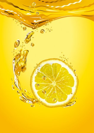 Illustration for Fresh lemon slice in lemonade with bubbles. Detailed vector illustration. - Royalty Free Image