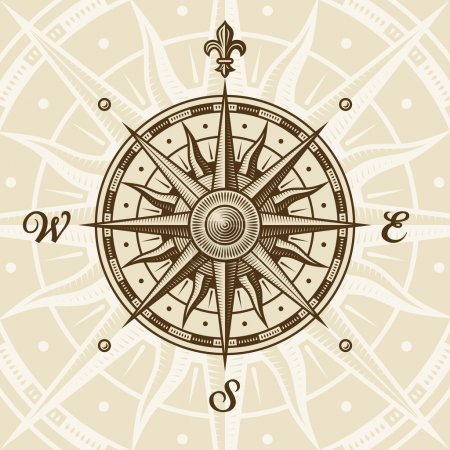 Illustration for Vintage compass rose in woodcut style. Vector illustration with clipping mask. - Royalty Free Image