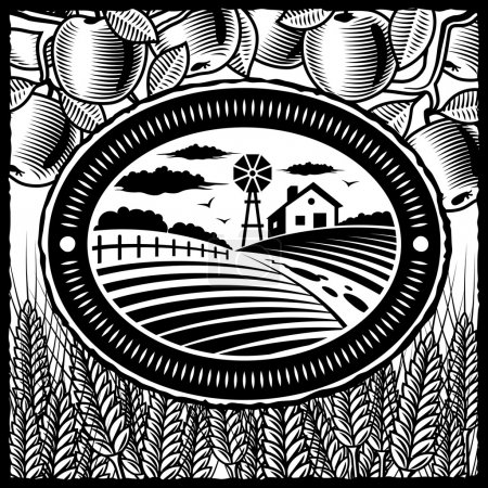 Illustration for Retro farm in woodcut style. Black and white vector illustration with clipping mask. - Royalty Free Image