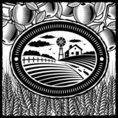 Retro farm in woodcut style Black and white vector illustration with clipping mask