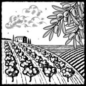 Retro landscape with olive grove in woodcut style Black and white vector illustration with clipping mask