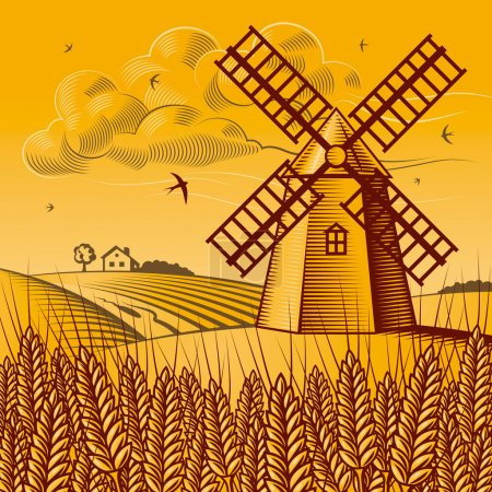 Illustration for Retro landscape with windmill in woodcut style. Vector illustration with clipping mask. - Royalty Free Image