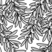 Seamless olive background in woodcut style Black and white vector illustration with clipping mask