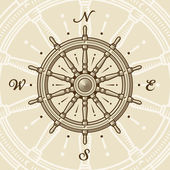 Vintage ship wheel in woodcut style Vector illustration with clipping mask
