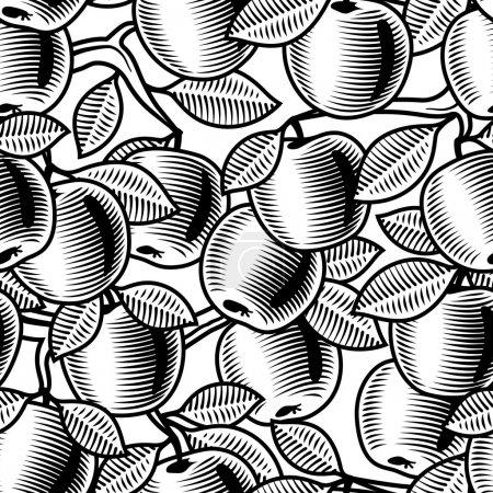 nahtloser Apfelhintergrund schwarz und weiß