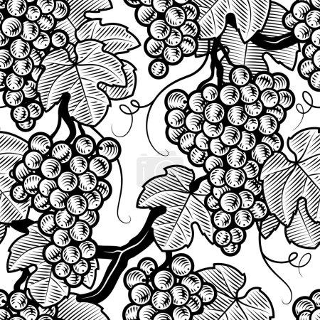 Illustration pour Fond de raisin sans couture en style gravure sur bois. Illustration vectorielle noir et blanc avec masque de coupe . - image libre de droit