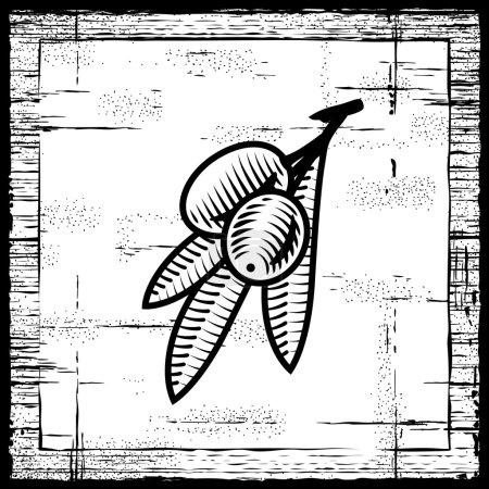 Retro Olivenzweig schwarz und weiß