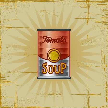 Illustration for Retro tomato soup can in woodcut style. Decorative vector illustration. - Royalty Free Image