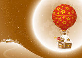 Santa Claus on a moonlit night flying in a balloon and watching through a telescope Vector illustration