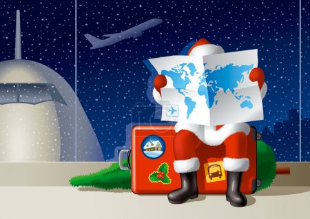 Illustration for Santa Claus at the airport is sitting on a suitcase and selecting a route for the Christmas travel. Vector illustration. - Royalty Free Image
