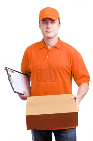 Photo for Man courier in orange uniform with a box isolated on white - Royalty Free Image