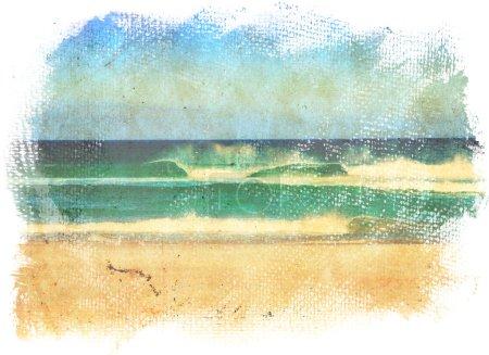 Photo pour Vagues de mer et ciel bleu dans un style d'une vieille peinture sur toile grunge avec des bords rugueux . - image libre de droit