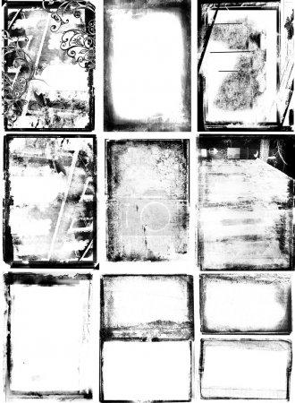 Photo pour Jeu de 10 bordures photographiques avec texture détaillée, tourbillons et bords abîmés . - image libre de droit