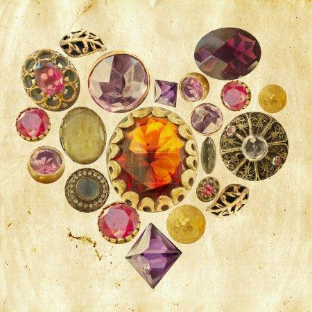 Precious stones heart on grunge background