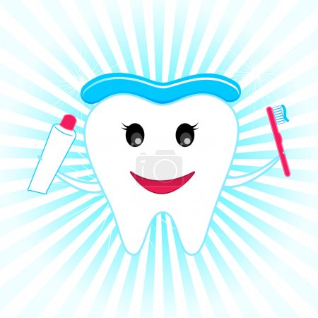 Illustration for Illustration of happy teeth with tooth brush and tooth paste - Royalty Free Image