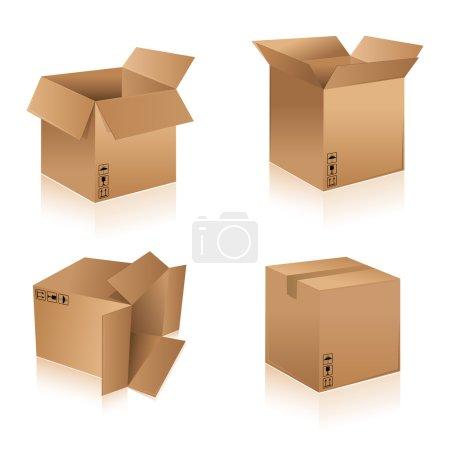 Illustration pour Illustration de boîtes en carton de forme différente sur fond isolé - image libre de droit