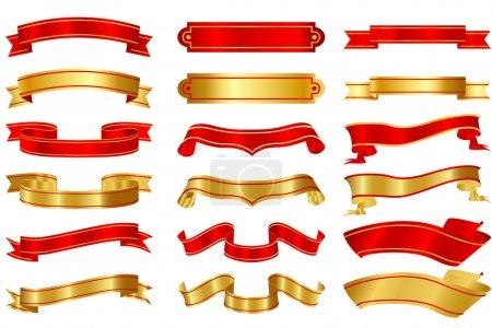 Illustration pour Illustration d'un ensemble de rubans de forme différente sur fond isolé - image libre de droit