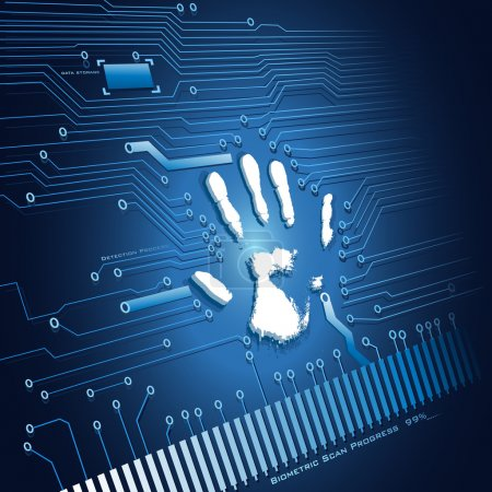Illustration for Illustration of analysing of hand scanning on abstract background - Royalty Free Image