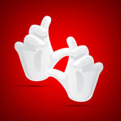 Illustration of magical hand wearing gloves on abstract red background
