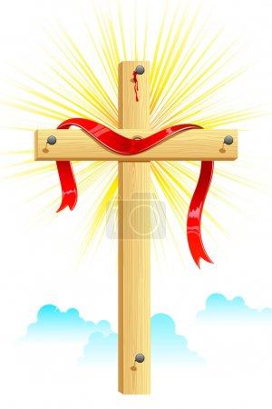 Illustration pour Illustration de ruban enveloppé sur une croix en bois - image libre de droit