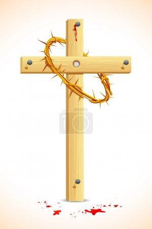 Illustration pour Illustration de la couronne d'épines sur croix en bois - image libre de droit