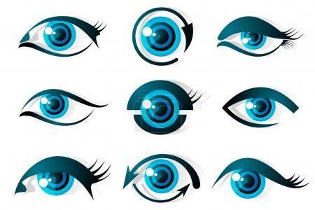 Illustration pour Illustration de l'ensemble de différentes formes d'oeil sur fond isolé - image libre de droit