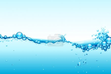 Illustration for Illustration of water splash on blue background - Royalty Free Image