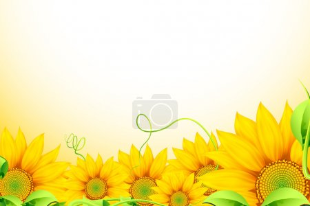 Illustration of bunch of sunflowers on abstract ba...
