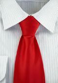 Striped shirt with red silk necktie