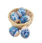 Easter eggs collection over a white