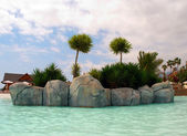 An island in the swimming pool of the waterpark