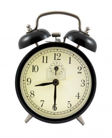 Photo pour Rétro réveil montrant 8 heures et 30 minutes isolé sur blanc - image libre de droit