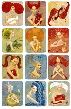 raster illustrator of woman zodiac signs set