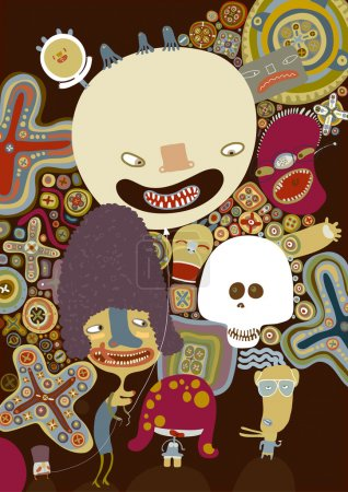 Illustration for Vector brown poster with smiled characters, skull, balloon and patterned background - Royalty Free Image