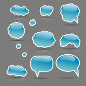 Square vector blue bubbles glossy set on the gray background