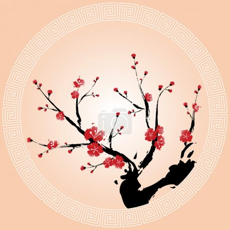 Illustration for Oriental style painting, Plum blossom - Royalty Free Image
