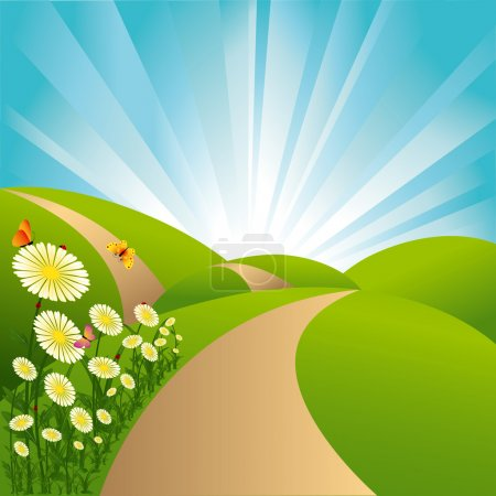Illustration for Spring landscape green fields blue sky flowers and butterflies - Royalty Free Image