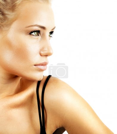 Photo for Beautiful female face, sexy model closeup portrait isolated on white background, glamour & fashion concept - Royalty Free Image