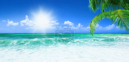 Photo for Beach, beautiful panoramic sea view, with clean water & blue sky - Royalty Free Image