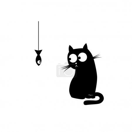 Illustration pour Chat noir et poisson. Illustration vectorielle - image libre de droit