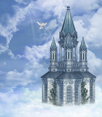 A church in the sky with a peace dove...