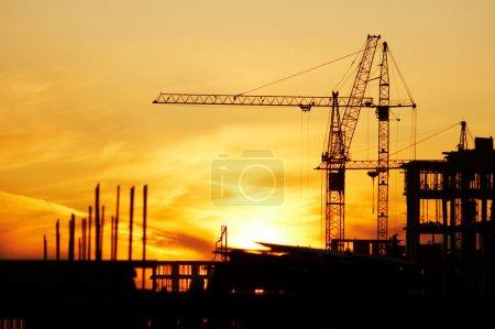 Photo pour Coucher du soleil, robinet, paysage de ville, tour, acier, matin, relance, haute, construction, - image libre de droit
