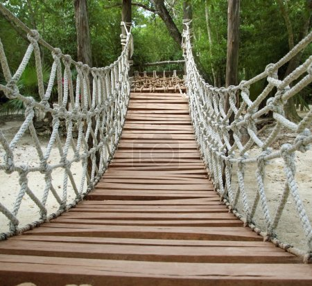 Photo pour Adventure wooden rope suspension bridge in jungle rainforest - image libre de droit