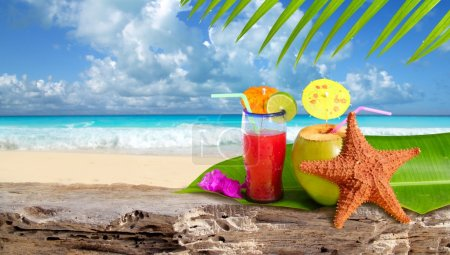 Photo for Coconut cocktail starfish tropical Caribbean beach refreshment - Royalty Free Image