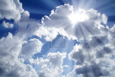 Beams of light sky blue with white clouds