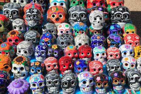Mexican skulls colorful ceramic Day of the Dead
