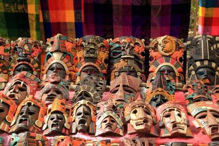 Colorful Mayan masks indian culture in Jungle