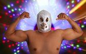 Mexikói birkózó maszk ezüst harcos gesztus