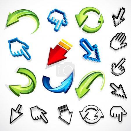Illustration pour Indices informatiques et flèches sur fond blanc - image libre de droit