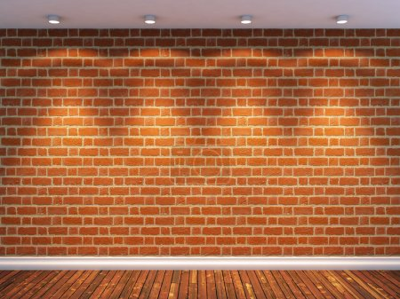 Photo for 3d render of empty room with brick wall and four spot lights - Royalty Free Image